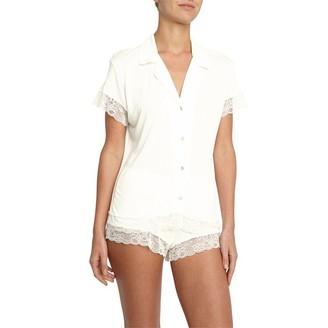 Eberjey Malou Short Sleeve PJ Set Ivory XS