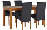 HOME Jackson Solid Wood Table & 4 Chairs - Black