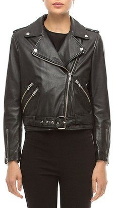Walter Baker Allison Leather Long Sleeve Moto Jacket