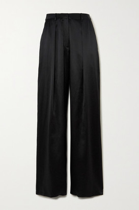 Michael Lo Sordo Pleated Silk-satin Wide-leg Pants - Black