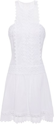 Charo Ruiz Ibiza Crocheted Lace-paneled Cotton-blend Voile Mini Dress