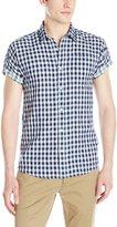 Scotch & Soda Men's Short Sleeve Shirt In Open Weave with Contrast Inside