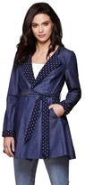 Yumi Long Denim Tie Belt Trench Coat