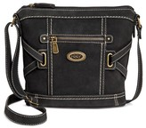 Bolo Women's Faux Leather Crossbody Handbag with Front/Back/Interior Compartments - Black
