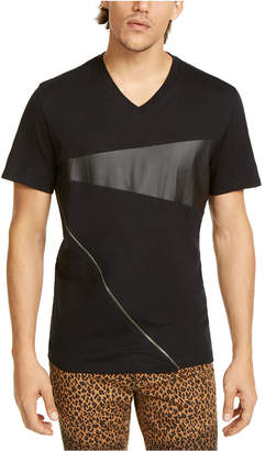 INC International Concepts Inc Men Zipper V-Neck T-Shirt with Faux-Leather Piecing
