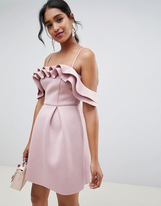 Asos Design DESIGN Strappy Ruffle Scuba Prom Mini Dress-Pink