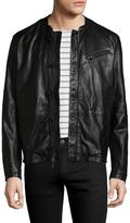 John Varvatos Solid Leather Racer Jacket