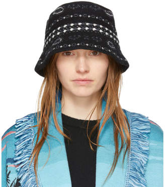 Alanui Black Bandana Bucket Hat