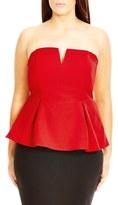 City Chic 'Deep V' Strapless Corset Top (Plus Size)