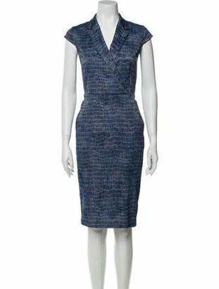Max Mara Animal Print Knee-Length Dress Blue