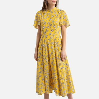 La Redoute Collections Printed Dress with Ruffled Short Sleeves