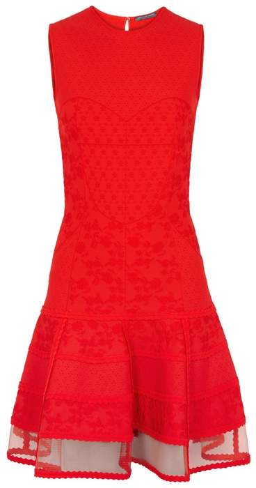 Alexander McQueen Red Jacquard Stretch-knit Dress