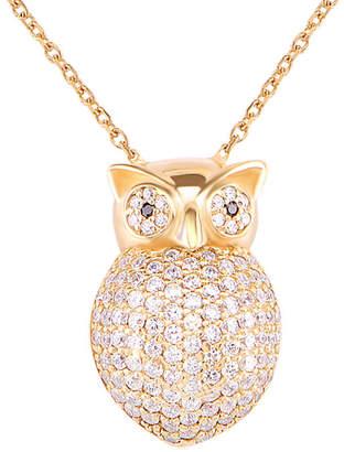 GABIRIELLE JEWELRY Gold Over Silver Cz Owl Pendant Necklace