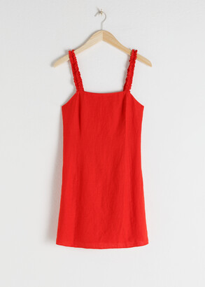 And other stories Ruffle Strap Linen Mini Dress