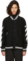 Off-White Black Brushed Diagonal Varsity Jacket