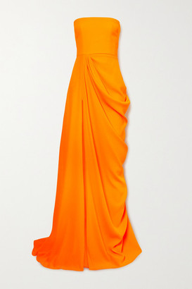 Alex Perry Reed Draped Crepe Strapless Gown - Orange
