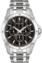 Bulova Mens Stainless Steel Dress Watch with Black Dial
