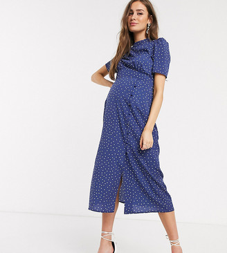 ASOS DESIGN Maternity midi tea dress with buttons in polka dot