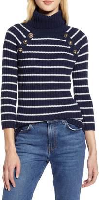 Halogen x Atlantic-Pacific Button Detail Turtleneck Sweater