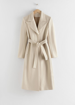 And other stories Belted Wool Blend Long Coat