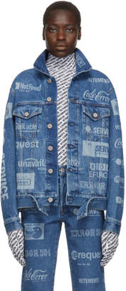 Vetements Blue Fully Branded Denim Jacket