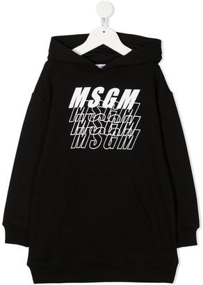 Msgm Kids Repeat Logo Print Hooded Dress