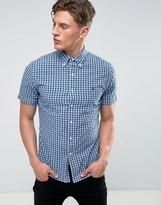 Polo Ralph Lauren Oxford Check Shirt Short Sleeve Slim Fit Buttondown In Navy