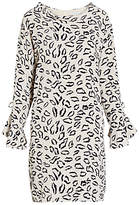 Gina Bacconi Abstract Animal Stretch Georgette Dress, Beige/Navy