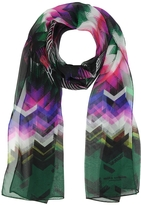 Mila Schon Pink and Green Zig Zag Print Silk Long Scarf