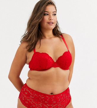 New Look Plus Curve pansy lace natural plunge bra in bright red