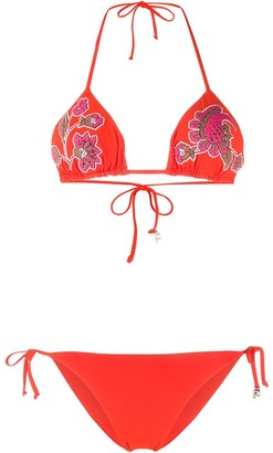 Fisico Embroidered Floral Bikini Set