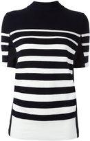 Sacai short sleeved striped sweatshirt - women - Cotton - 1