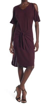 14th Place Front Tie Cold Shoulder Knit Dress