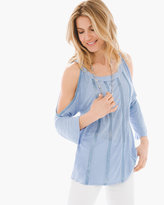 Chico's Sequin Cold-Shoulder Top in Clay Blue