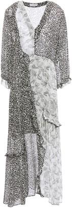 Hofmann Copenhagen Ruffle-trimmed Patchwork-effect Printed Georgette Midi Dress