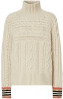 Burberry Icon Stripe Cuff Cable Knit Cashmere Sweater