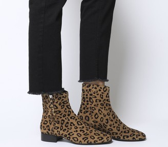 Office Adore Side Zip Casual Boots Leopard Flocked Suede