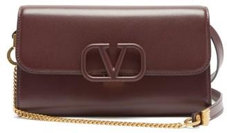 Valentino V-sling Leather Shoulder Bag - Burgundy