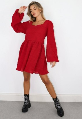 Missguided Burgundy Shirred Textured Smock Dress