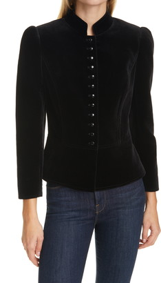 Tory Burch Shrunken Velvet Military Jacket