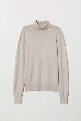 H&M Fine-knit Turtleneck Sweater - Beige