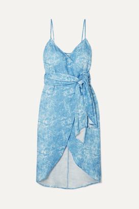 Reformation Court Asymmetric Printed Linen Wrap Dress - Blue