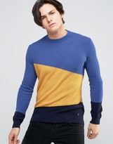 United Colors Of Benetton Waffle Jumper In Cashmere Blend With Colour Block Detail