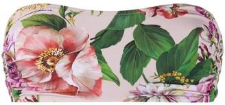 Dolce & Gabbana Floral Print Bandeau Bikini Top