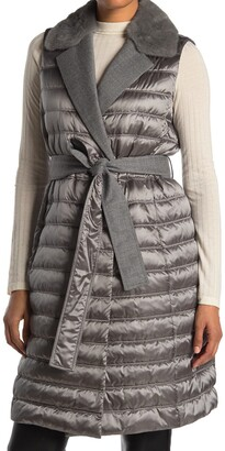 Lafayette 148 New York Meade Genuine Mink Fur Collar Quilted Belted Vest