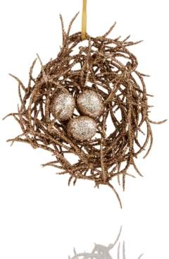 Holiday Lane Bird Nest With Gold Glitter Eggs Ornament, Created for Macy's