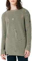 Topman Men's Slim Fit Ripped Military Sweater