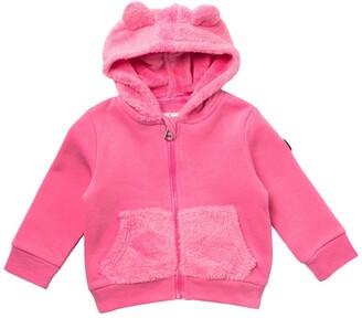 Jessica Simpson Plush Faux Fur Trim Hooded Jacket