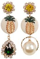 Cara Accessories Rhinestone Mismatched Pineapple Dangle Earrings