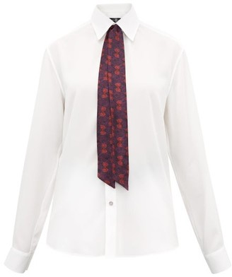 Edward Crutchley Neck-tie Silk Shirt - White